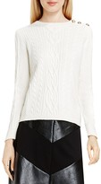 Vince Camuto Button Shoulder Cable Knit Sweater