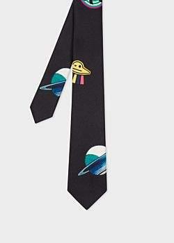Men's Black 'UFO' Print Narrow Silk Tie