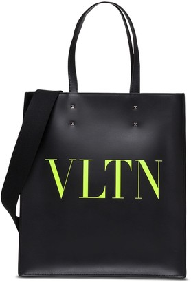 Valentino Leather Tote Shopper With Logo
