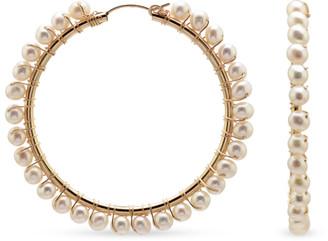 CHAINS AND PEARLS Multi-Pearl Hoop Earrings