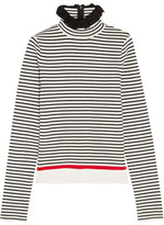 MSGM Ruffle-trimmed Striped Stretch Cotton-blend Top - White