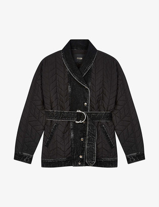 Maje Gilane contrast-panel quilted shell jacket