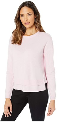 Elliott Lauren Cashmere Crew Neck Sweater with Double Hem Detail (Pink) Women's Sweater