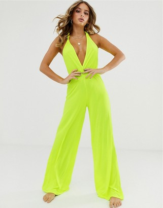 Asos Design DESIGN neon yellow plunge neck slinky jersey beach jumpsuit with twist back