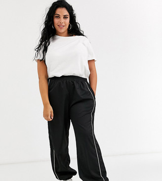 Daisy Street Plus relaxed cuffed sweatpants with rhinestone trim-Black