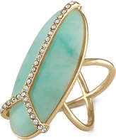 Rachel Roy Gold-Tone Pavé & Blue Stone Peace Sign Ring