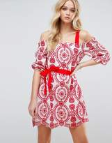 Asos PREMIUM Broderie Dress with Grosgrain and Red Trim