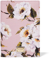 Dolce & Gabbana Printed Textured-leather Passport Cover - Pastel pink