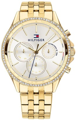 Tommy Hilfiger Silver Sunray Chronograph Dial Gold Stainless Steel Bracelet Ladies Watch
