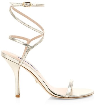 Stuart Weitzman Merinda Ankle-Wrap Metallic Leather Sandals
