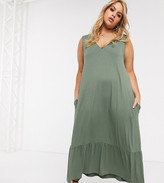 Asos DESIGN Curve Exclusive concealed pocket midi dress with tiered hem in khaki