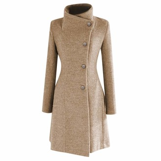 Jerferr JERFER Womens Winter Lapel Wool Coat Trench Jacket Long Sleeve Overcoat Outwear Khaki