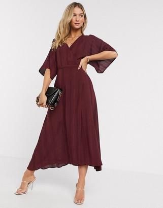 Liquorish kimono sleeve wrap midi dress in burgundy