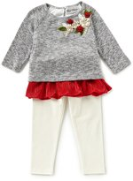 Rare Editions Little Girls 2T-6X Floral-Applique Ruffle Sweater & Leggings Set