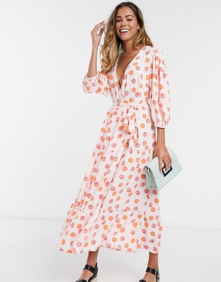 Glamorous midaxi dress with wrap front and tiered skirt in grapefruit print