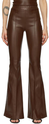 Rosetta Getty Brown Leather Pintuck Flare Pants