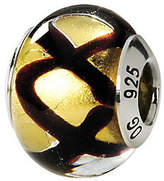 Murano Prerogatives Sterling Black & Yellow Italian Glass Bead