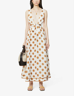 Zimmermann V-neck polka dot-print linen maxi dress