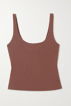 Skin Aurora Cropped Stretch Organic Pima Cotton-jersey Top - Brown