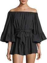C/Meo Off-The-Shoulder Ruffle Sleeve Romper