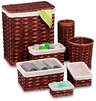 Honey-Can-Do Brown/Cherry Wicker 7-Piece Hamper Kit