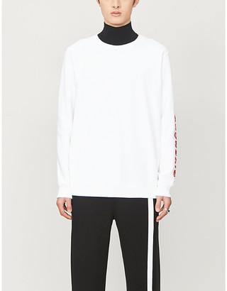 Givenchy Flocked brand-print crewneck cotton-jersey jumper