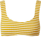 Solid and Striped - The Elle Striped Ribbed Stretch-knit Bikini Top - Mustard