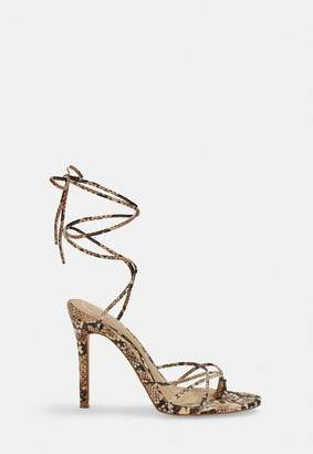 Missguided Nude Snake Print Strappy Toe Post Heeled Sandals