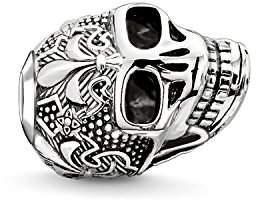 Thomas Sabo Unisex Bead Skull with Lily 925 Sterling Silver, Blackened K0239-637-12