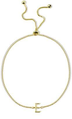 Argentovivo 18K Gold Plated Sterling Silver Initial Bracelet
