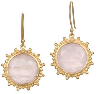 Satya Rose Quartz Earrings, Goldtone Brass