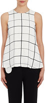 Lisa Perry Women's Windowpane-Checked Crepe Swing Top-WHITE, NO COLOR
