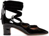 Valentino Garavani Valentino Black Patent and Velvet Ghillie Heels