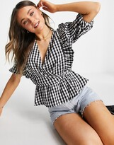 Thumbnail for your product : New Look gingham frill blouse in black check
