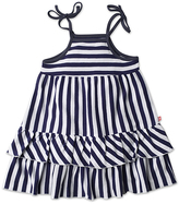 Zutano Navy & White Breton Stripe Tiered Sleeveless Dress - Toddler