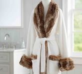 Pottery Barn Faux Fur Robe Without Hood - Ivory/Caramel