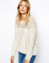 Asos Slouchy Sweater With Lace Inserts