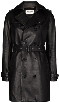 Saint Laurent Double-Breasted Leather Trench Coat