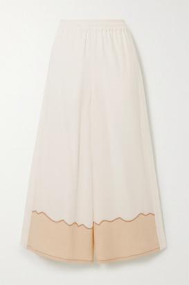 Chloé Silk Crepe De Chine And Linen Wide-leg Pants - White