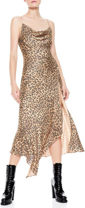 Alice + Olivia Harmony Drapey Slip Asymmetric Midi Dress