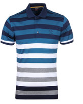 Paul & Shark Teal & Grey Striped Short Sleeve Polo Shirt