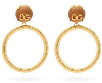 Dolce & Gabbana logo Hoop-pendant Clip Earrings - Womens - Gold