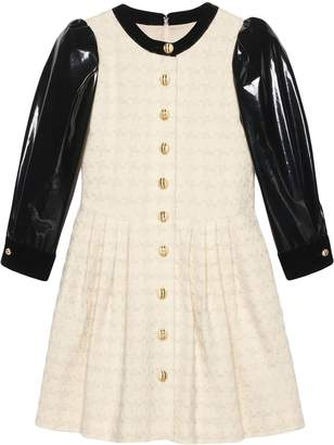 Gucci vinyl-sleeve flared mini dress