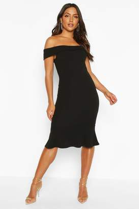 boohoo Off The Shoulder Bow Detail Midi Dress