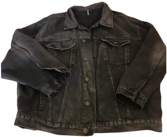 Free People Black Cotton Leather Jacket for Women