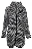 Quiz Cream And Black Woven Wool Zip Jacket