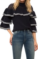 Self-Portrait Striped Frill Sweater