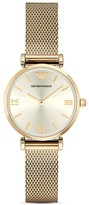 Emporio Armani Champagne Stainless Steel Mesh Watch, 32mm