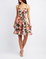 Charlotte Russe Floral Strappy Skater Dress