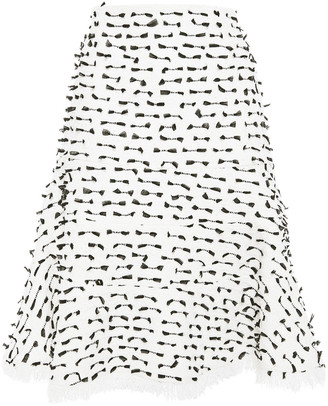 Oscar de la Renta Ruffled Fil Coupe Cotton-blend Boucle-tweed Skirt